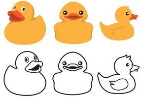 Color de pato de goma y vector de contorno