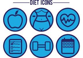 Ícones do vetor da dieta azul
