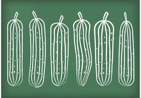 Vetores de pepino desenhado com giz