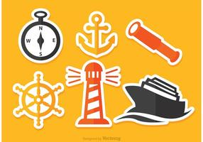 Icone piane nautiche di vettore