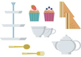 High Tea Muffins Sandwich Vector Set