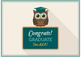 Gratis Graduation Owl Card Vector