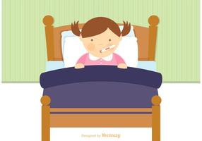 Libere el niño enfermo en vector de la cama