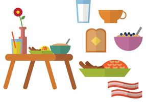 Breakfast In Bed Flat Vectors