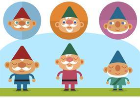 Vecteurs de gnomes mignons plats