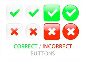 Correct Incorrect Button Vector Set