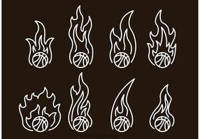 Basketbal in brand overzicht pictogrammen