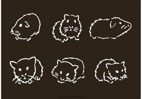 Vectores dibujados a mano del conejillo de Indias