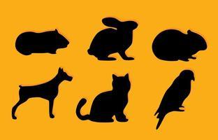 Iconos de la silueta del animal doméstico del vector