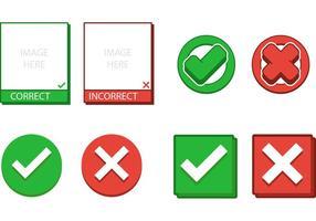 Boîte d'exemple correcte et incorrecte et symboles vectoriels