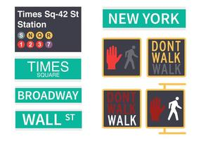New York Street Signs Vector