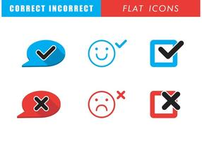 Correct Incorrect Flat Icons vector