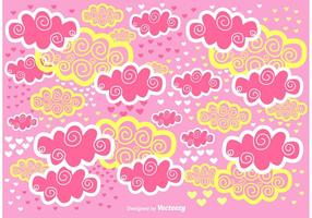 Scrapbook fundo de vetor de nuvens cor de rosa