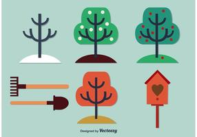 Säsongsbetonade träd och trädgårdsvektorer