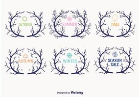 Seasonal Wreaths Branch Vectors