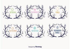 Vecteurs de branche de couronnes saisonnières
