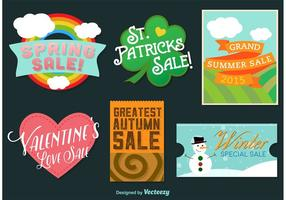 Seasonal and Holidays Illustrated Vector Badges