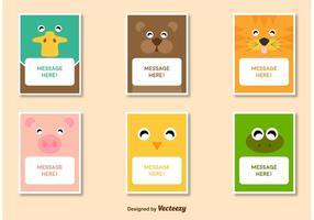 Animales amistosos personajes tarjeta de vectores de plantilla