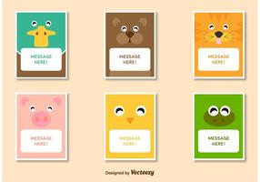 Vänliga Animal Characters Kortmall vektorer