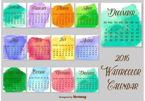 2016 Plantilla del vector del calendario de Watercolored
