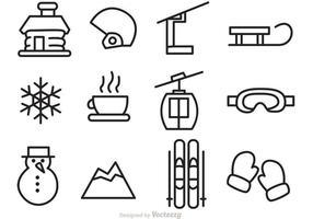 Invierno Vector Outline Iconos