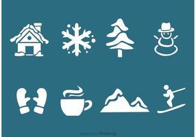 Invierno silueta iconos vectoriales