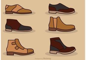 Iconos del vector de los zapatos del hombre
