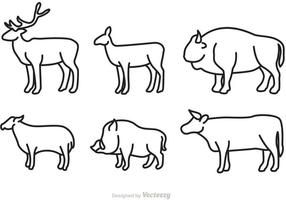 Wild Animal Outlined Vectors