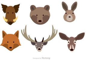Vecteurs de visages d'animaux forestiers
