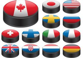 Hockey Puck Vectors with Flags