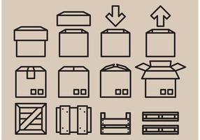 Iconos de cajas de vectores