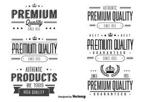 Redigerbar Retro Kvalitet Etikett Set
