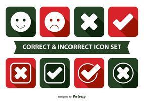 Conjunto de ícones correto e incorreto
