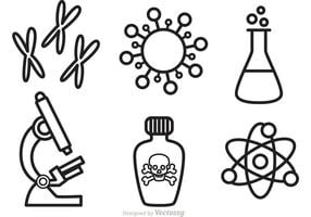Ícones do vetor de ciência e pesquisa