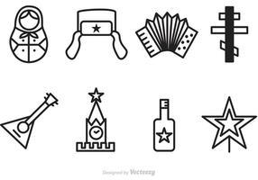 Iconos de vector de contorno ruso