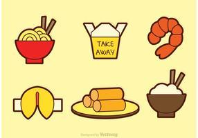 Ícones de vetor de comida chinesa