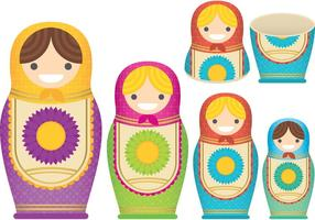 Matrioshkas Nesting Doll Vectores