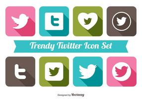 Trendy Twitter Icon Set