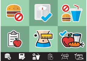 Vecteur d'icônes minimales de régime libre