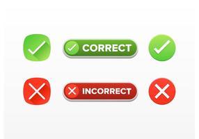 Correcte en onjuiste tekens vectoren gratis