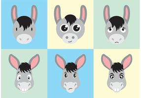 Donkey Cartoon Faces Vector