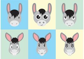 Donkey Cartoon Faces Vector