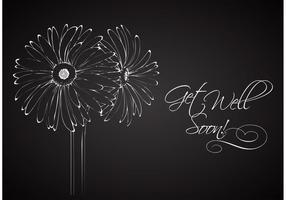 Free Drawn Floral On Blackboard