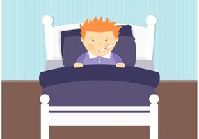 Sick Boy In Bed Vector