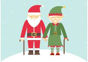 Senior Couple Dressed In Christmas Costumes Vector