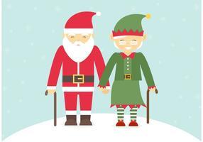 Pareja mayor libre vestida en trajes de Navidad Vector
