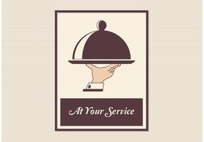 Cartel retro libre del vector del servicio del mayordomo