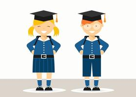 Crianças de escola grátis em uniforme vetor