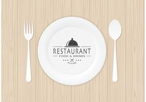 Gratis Restaurant Logo Op Papierplaat Vector