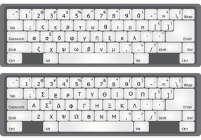 Vetores do teclado do alfabeto grego